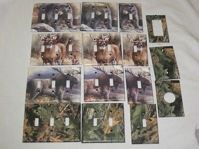 1 Of 3 Realtree Camo Bear Deer Moose Light Switch Plate Cover Hunting Lodge Decor