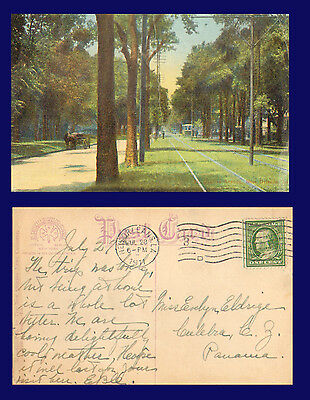 1911 Color View of St. CHARLES AVENUE, NEW ORLEANS POSTCARD  - with Scott # 331