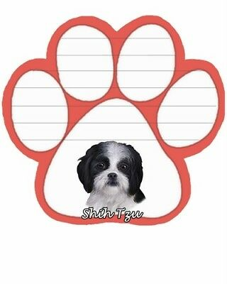 Black & White Shih Tzu Dog Breed Magnetic Paw Shaped Sticky Note Pad 50 sheets