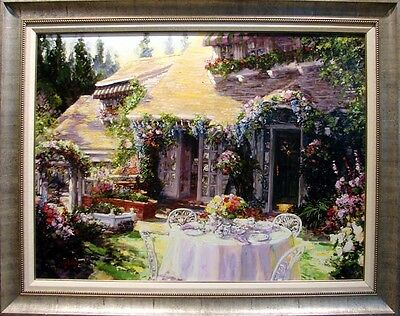 "Stephen Shortridge ""Breakfast in the Garden""Hand Signed giclee on canvas"