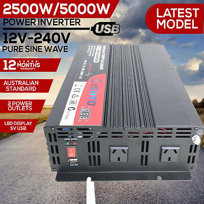 Pure Sine Wave 2500W(5000W Max) 12V-240V Power Inverter Camping Boat Caravan
