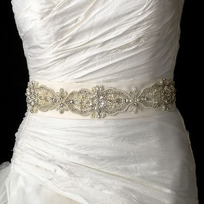 "White or Ivory Beaded Pearl Rhinestone Wedding Sash Bridal Belt  95"" Long  # 11"