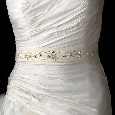 White or Ivory Beaded & Rhinestone Accented Wedding Sash Bridal Belt 2
