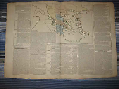 Huge Gorgeous Antique 1803 Ancient Greece Greek History Handcolored Map Fine Nr