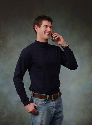 Adult Mock turtleneck Long Sleeve T-shirt.100% cotton.Size S to 3XL. Made in USA