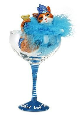 Hiccup H2Z Long Island Iced Tabby Cat Orange Kitty Figurine in Glass 73657
