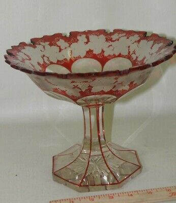 ANTIQUE 19C MUSEUM QUALITY EGERMAN BOHEMIAN RUBY RED GLASS COMPOTE CENTER PIECE