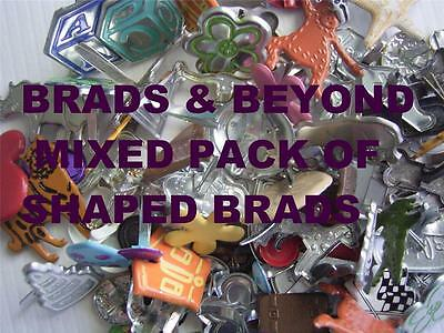 BB BRADS BULK SHAPED MIX - pack of 40 scrapbooking brad craft huge range cards