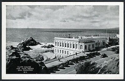 CLIFF HOUSE & ROW of 1930s AUTOS,SAN FRANCISCO~ORIGINAL ANTIQUE B/W POSTCARD