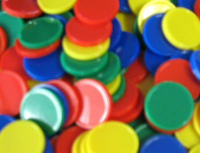 100 Round Solid Colour Counters 4 colours Maths Games