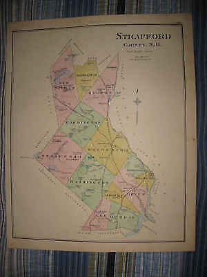 Antique 1892 Strafford County City Of Dover New Hampshire Handcolored Map Nr