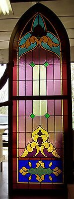 Restored 133 year old Victorian Gothic Leaded Glass Window 9 feet high,assemble