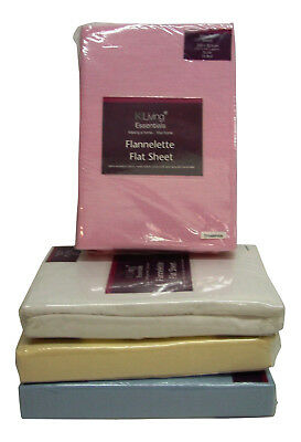King Bed Flannelette Flat Sheet Available In Blue Cream Pink White