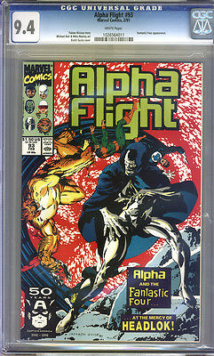 Alpha Flight #93 CGC 9.4 NM WHITE Pages Universal
