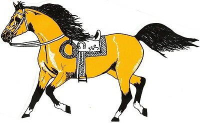 "2 - Horse Stickers With Saddle Cowboy Rope  (9"" X 12¼"")  Decal Vinyl  Yellow"