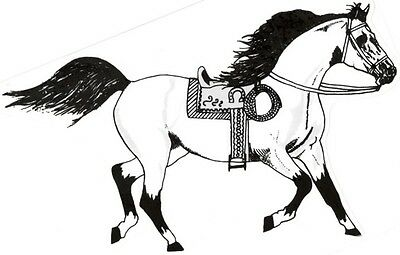 "2 - Horse Stickers With Saddle Cowboy Rope  (9"" X 12¼"")  Decal Vinyl   White"