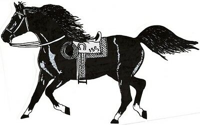 "2 - Horse Stickers With Saddle Cowboy Rope  (9"" X 12¼"")  Decal Vinyl   Black"