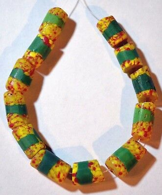 Antique Venetian Yellow & Red End Of Day Crumb Beads Green Stripes African Trade