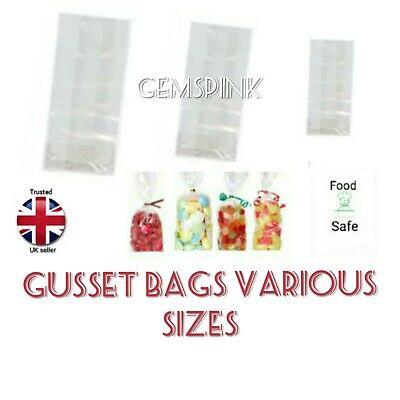 """50 x Clear sweet Gift, Party, Display Bags with gusset 9"""" (tall) x 3"""" x 2"""""""