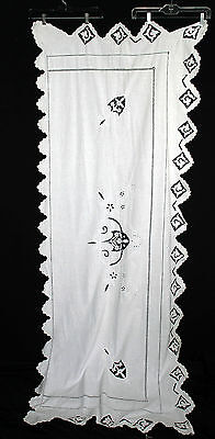 "Rare Antique Early 20Th Century Hand Embroidered Table Runner 80""l X 31"" W"