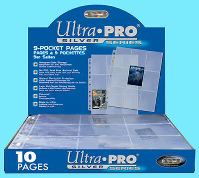 10 ULTRA PRO SILVER 9-POCKET Card Pages Sheets Standard Size Binder Sports