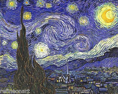 Vincent Van Gogh STARRY NIGHT Fine Art Giclee Print Repro on Canvas 16''X20''