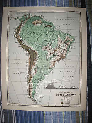 Antique 1890 Geological Physical South America Map Argentina Mountain Brazil Nr