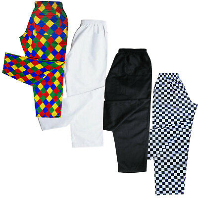 Chefs Trousers / Chef Pants Uniforms Trouser  White - Black - Harlequin - Chess