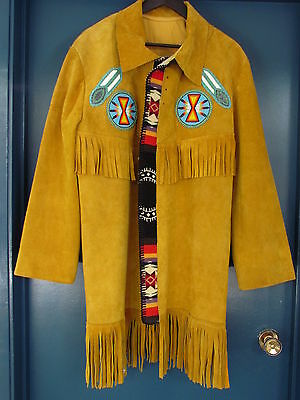 NEW FULL LENGTH LEATHER JACKET, BEADED, BY NATIVE AMERICAN, GOOD QUALITY