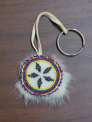Round Key Chains Full Beaded Colorful Design With White Rabbit Fur, Handmade