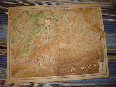 Huge Antique 1922 South Southern Germany Times Atlas Map Munich Frankfurt Nr