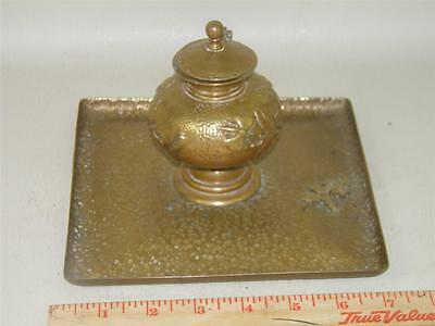 Antique Arts & Crafts Hand Hammered Bronze Figural Floral Inkwell Trinket Tray