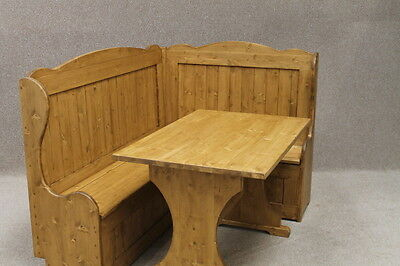 3Ft X 4Ft High Back Handmade Pine Corner Settle Pew Bench Waxed Made To Order