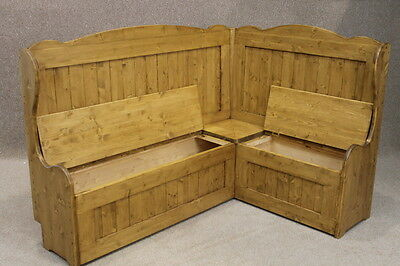 Tall Pine Corner Settle Bench 3Ft X 3Ft Pew With High Back • £550.00