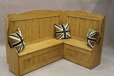 Tall Rustic Pine Corner Settle Pew With High Back And Storage 3Ft X 6Ft Handmade