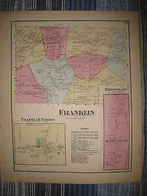 Antique 1872 Franklin Township Unionville Susquehanna County Pennsylvania Map