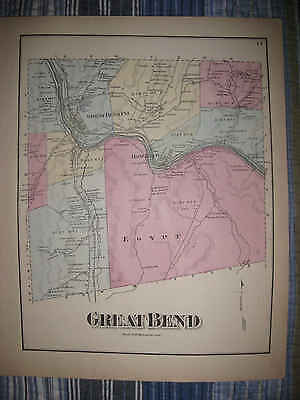 Antique 1872 Great Bend Township Red Rock Susquehanna County Pennsylvania Map Nr