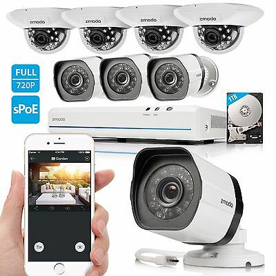 Zmodo™ Wireless Outdoor Security Camera System IR-CUT 720P HD IP Network NVR 1T