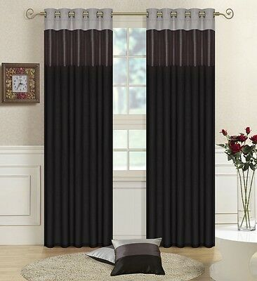 Black, Grey,Silver Faux Silk THREE TONE Fully Lined CURTAINS Eyelet / Ring Top