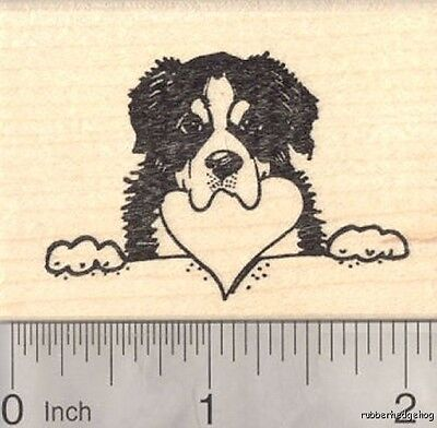 Bernese Mountain Dog Rubber Stamp, With Heart in Mouth Valentine's Day H18608 WM