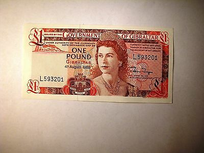 Very Luscious Condition 1988 Government Of Gibraltar One Pound Note