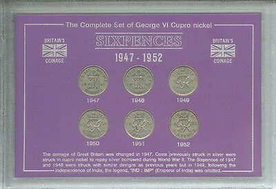 1947-1952 King George VI Sixpence Sixpences GB Coin Gift Set Collection in Case