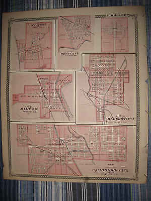 Antique Cambridge City Hagerstown Milton Newport Portage Township Indiana Map Nr