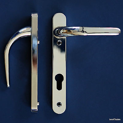 Easy Fit POLISHED CHROME Quality Door Handle Patio upvc pvc silver front lock 92
