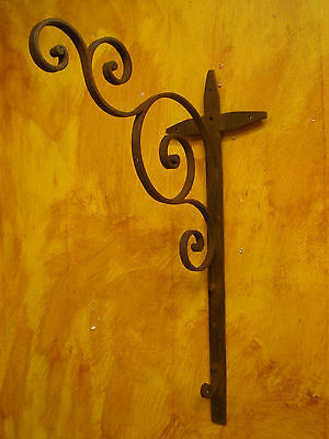 Rustic Wrought Iron Hook-Wall Bracket-Antique Iron-Handmade-8x25 in-Beautiful