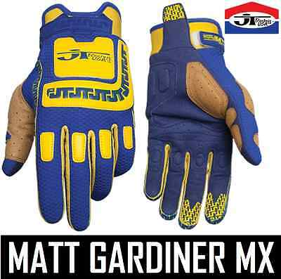 Jt Racing Life Line Motocross Mx Mens Gloves Blue Yellow Retro Evo Twin Shock