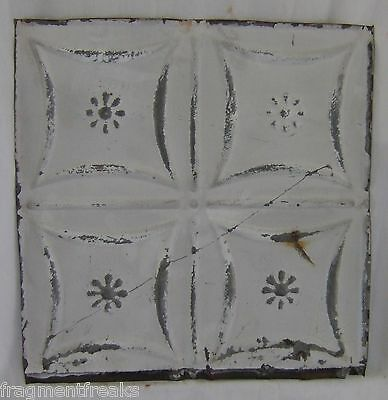 "12""  Antique Tin Ceiling *See Our Videos* White Metal Reclaimed A"