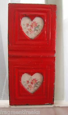 Reclaimed Ceiling Tin Picture Frame Antique Anniversary  Double HEARTS