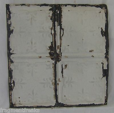 "12""  Antique Tin Ceiling Reclaimed White Metal Vintage B Vintage"