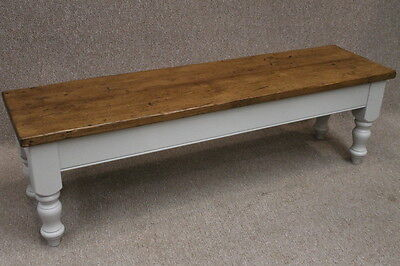 7Ft Handmade Rustic Reclaimed Pine Bench With Farrow & Ball Painted Base